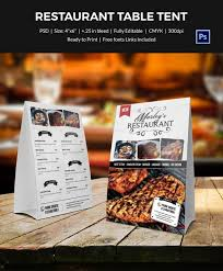 Restaurant Table Tent Card Template Food Print Media Table Tents