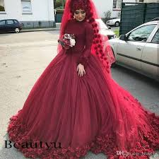 3d flower burgundy muslim wedding dresses 2018 arabic custom plus