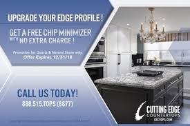cutting edge countertops is offering a promotion on our chip minimizer enhancement minimize chips around your sink and enhance its beauty