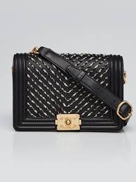 chanel black leather embroidered tweed boy waist bag