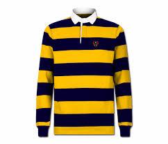 men s gold and navy blue collard heru rugby shirt long sleeve