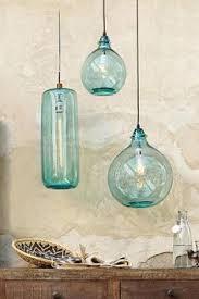 salon bleu glass demijohn pendant beach theme lighting