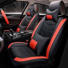 5D 5 Seat <b>Car</b> PU Leather Front <b>Rear Seat</b> Cover <b>Pillow</b> Steering ...