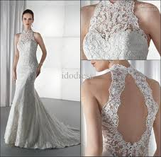 charming high neck lace bridal wedding dress sheath backless stain