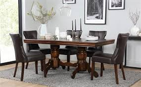 sworth dark wood extending dining table and 6 chairs set bewley dark brown