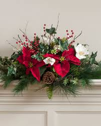 Festive silk centerpiece handcrafted red poinsettias creamy white magnolias
