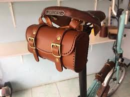 details about leather bicycle saddle bag handmade for brompton brooks vintage brown tan