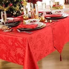 round tablecloth red garland 69 inch