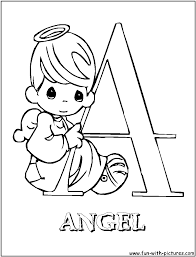 A for angel - Precious Moments Alphabet Coloring Pages | Free ...