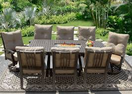 barbados cushion 42x84 rectangle outdoor patio 9pc dining set for 8 person with rectangle fire table