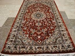 burnt orange rust flowers area rug hand knotted wool silk carpet 5 x 3