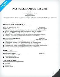 Payroll Resume Samples Payroll Resume Sample Resume Samples Across