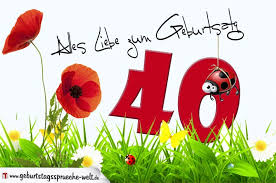 Geburtstagskarte Mit Blumenwiese Zum 40 Geburtstag