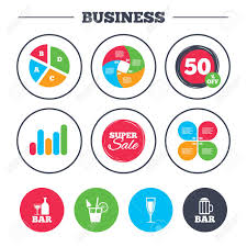 Business Pie Chart Growth Graph Bar Or Pub Icons Glass Of