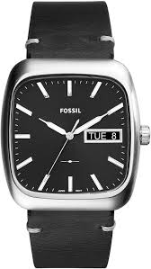 men s fossil rutherford black leather strap watch fs5330