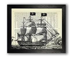 pirate ship art print poster pirate