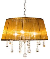 Fehmi Lights Brampton On Prisum Collection 1157 3 Amber Crystal Chandelier
