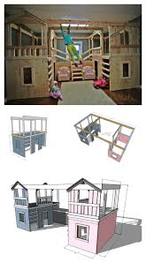 build a basement indoor playground with monkey bars playhouses can be used as beds or bunk beds free plans by ana white com
