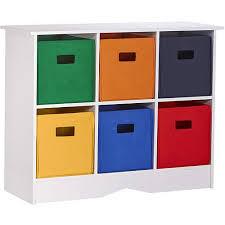 RiverRidge Kids Storage Cabinet with 6 Bins White and Primary