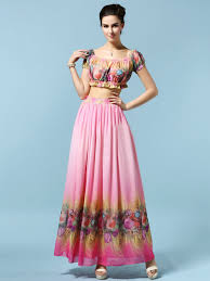 Skirt N Top Designs New Design Women Skirt Set Pink Floral Off Shoulder Flounce