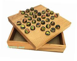 Wooden Game With Marbles Handmade Solitaire Game With Glass Marbles Wooden Puzzles for 34