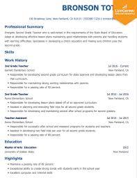 Example Teaching Resumes Best Teacher Resume Example Livecareer