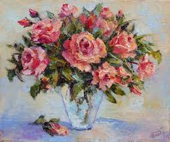 flower paintings handmade livemaster handmade oil painting roses bouquet of roses
