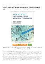 REVIEW Autocad 2015 For Space Planning In Interior Design Pdf