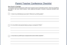 Parent Teacher Conference Form Template Parent Teacher Conference Concern Questionare Checklist