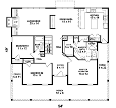 653775  Twostory 2 Bedroom 2 Bath Country Style House Plan Country Style Open Floor Plans