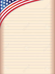 old paper exercise book with the united states flag in the upper left corner and blank