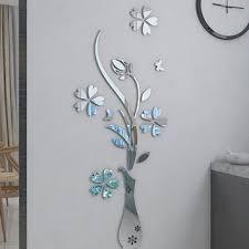 mirror flower vase 3d crystal acrylic three dimensional wall stickers entranceway mirror furniture decoration sliver
