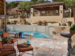 Patio with pool Travertine Cimarrokaldesignandremodelingoutdoorpoolbackyards4x3 Hgtvcom Tips For Designing Pool Deck Or Patio Hgtv