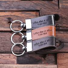 personalized dark brown leather metal engraved key chain