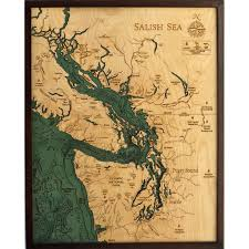 Wood Bathymetric Charts Salish Sea Bathymetric Wood Chart