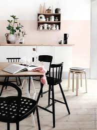 Dreamy Dining Room - Blush Pink Walls, Light Wood Accents, Black Pops | #