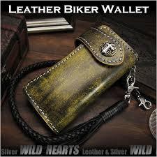 motorcycle biker wallet genuine cowhide leather wallet custom handmade wild hearts leather silver id lw0123