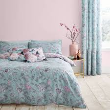 catherine lansfield oriental erfly easy care duvet set duck egg super king