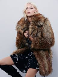 free people gy faux fur fox coat