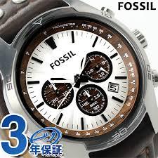 fossil フォッシル watch men coach man chronograph ch2565 silver x dark brown leather belt