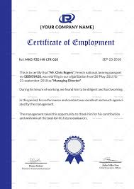 Format Of Employer Certificate Excellent Employment Certificate Design Template In Psd Word