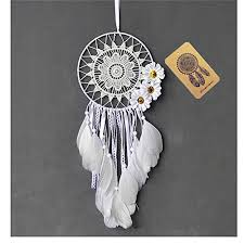 dremisland dream catcher handmade traditional white feather dream catcher wall hanging car hanging decoration ornament gift white flower
