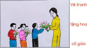 Vẽ tranh chủ đề 8 - 3, 20 - 11 đơn giản - Tặng hoa cô giáo - YouTube