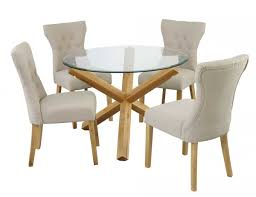 oporto round dining table in solid oak and clear glass