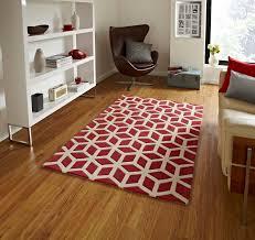 modern geometric rug red