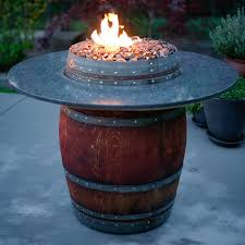wine barrel gas fire pit far fetched the reserve table with wood top 42 home interior