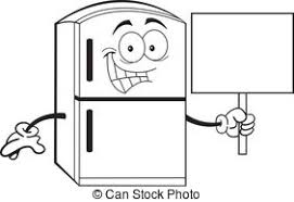refrigerator clipart. cartoon refrigerator holding a sign - black and white. clipart