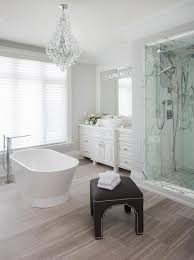 Wood Like Bathroom Floor Tiles with Oval Freestanding Tub Modern