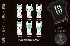 ✓ free for commercial use ✓ high quality images. Teacher Life 2020 Llama Wearing Mask Svg Graphic By Zemira Creative Fabrica