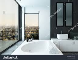 spacious all white bathroom. Modern Spacious Hotel Bathroom Interior With Rolled Clean White Towels, A Contemporary Bathtub And City All